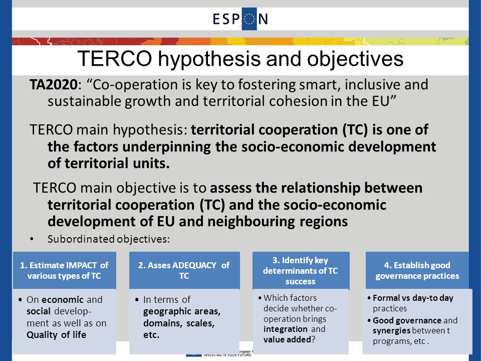 Key policy questions and types of TC 3 Main TYPES of Territorial Co-operation analysed in TERCO Twinning City Cross-border (incl.