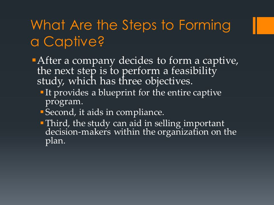 What Are the Steps to Forming a Captive?  After a company decides to form a captive, the next step is to perform a feasibility study, which has three