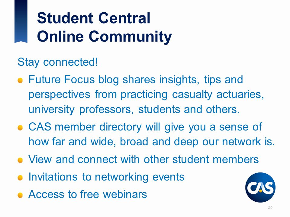 Student Central Online Community Stay connected.