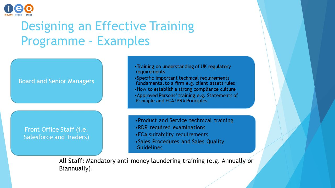 Designing an Effective Training Programme - Examples Product and Service technical training RDR required examinations FCA suitability requirements Sales Procedures and Sales Quality Guidelines All Staff: Mandatory anti-money laundering training (e.g.