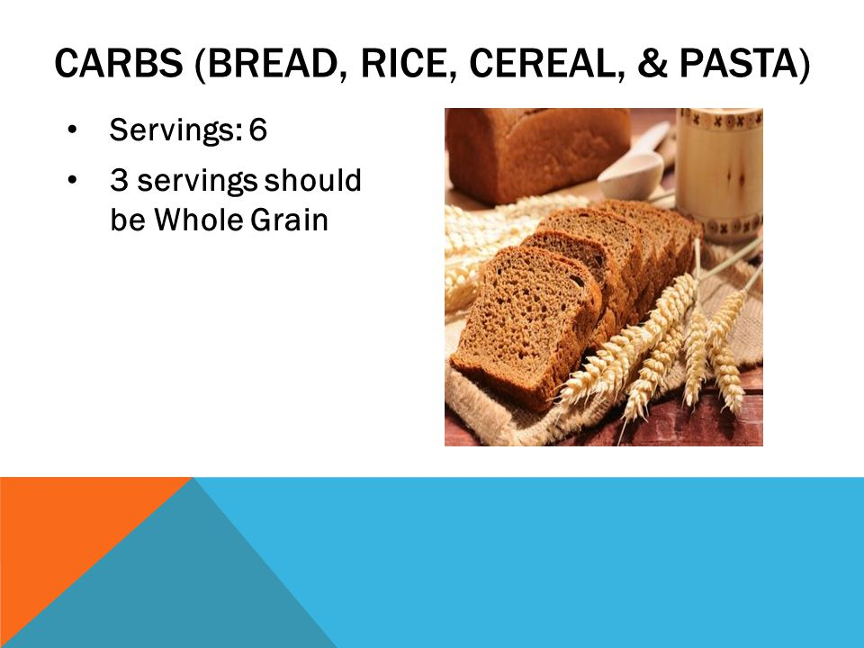 Servings: 6 3 servings should be Whole Grain CARBS (BREAD, RICE, CEREAL, & PASTA)