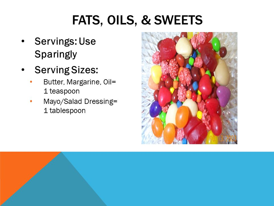 Servings: Use Sparingly Serving Sizes: Butter, Margarine, Oil= 1 teaspoon Mayo/Salad Dressing= 1 tablespoon FATS, OILS, & SWEETS