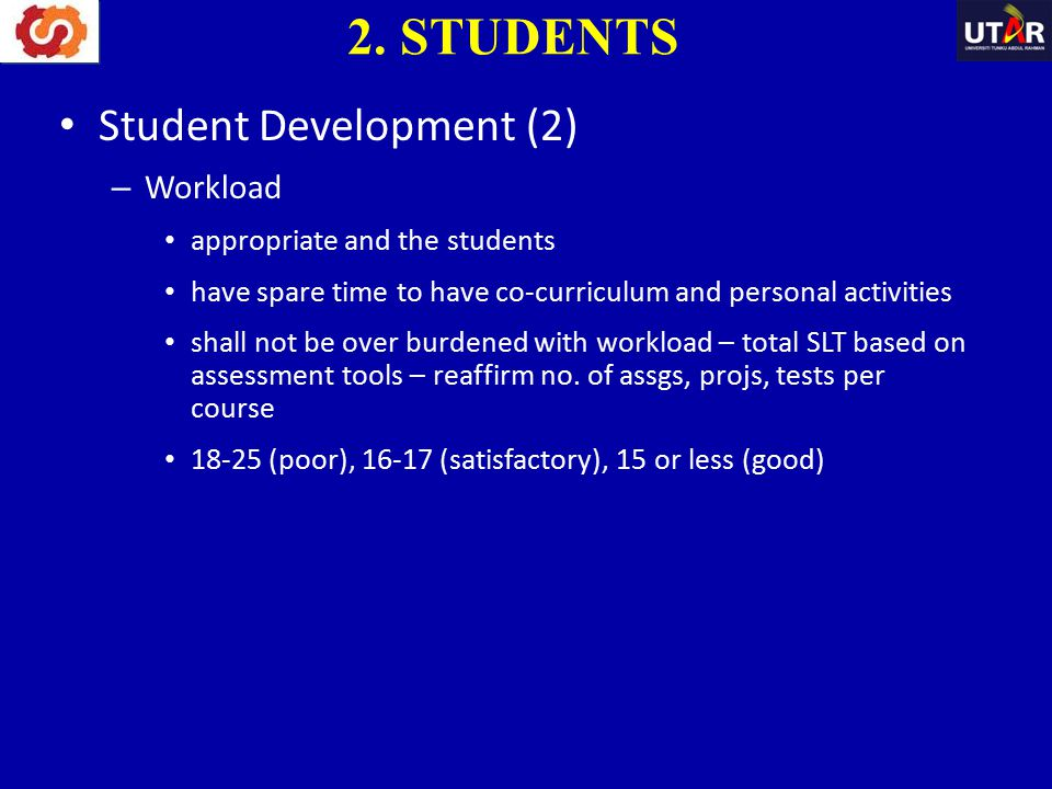 Student Development (2) – Workload appropriate and the students have spare time to have co-curriculum and personal activities shall not be over burden