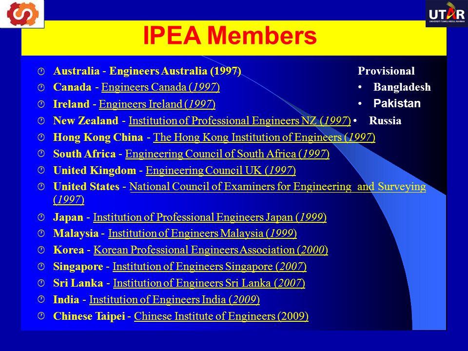 Australia - Engineers Australia (1997) Canada - Engineers Canada (1997) Provisional Bangladesh Pakistan  Ireland - Engineers Ireland (