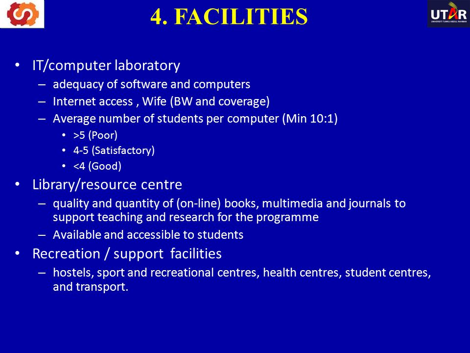 IT/computer laboratory – adequacy of software and computers – Internet access, Wife (BW and coverage) – Average number of students per computer (Min 1