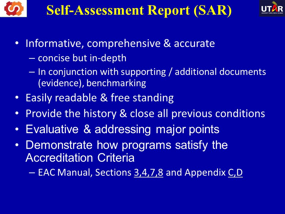 Informative, comprehensive & accurate – concise but in-depth – In conjunction with supporting / additional documents (evidence), benchmarking Easily r