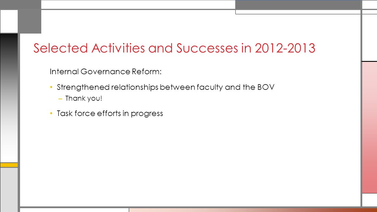 Internal Governance Reform: Strengthened relationships between faculty and the BOV – Thank you.