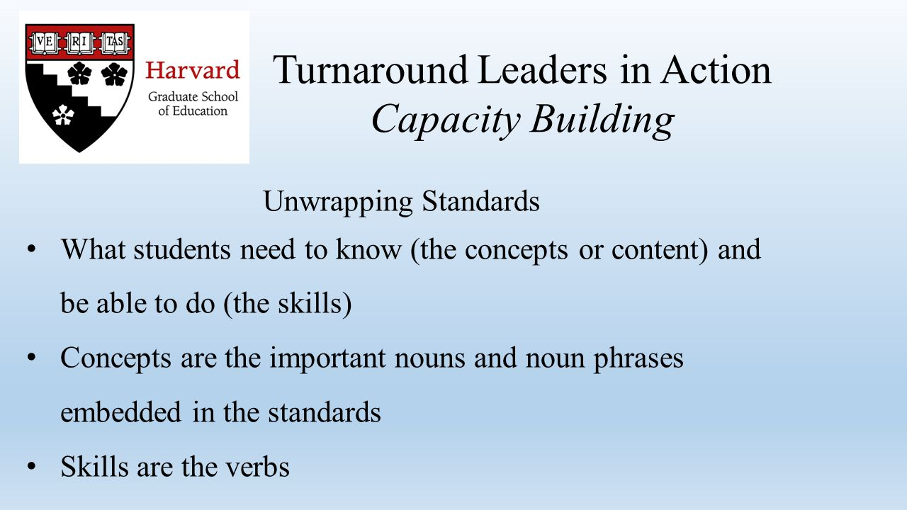 Unwrapping Standards What students need to know (the concepts or content) and be able to do (the skills) Concepts are the important nouns and noun phrases embedded in the standards Skills are the verbs Turnaround Leaders in Action Capacity Building