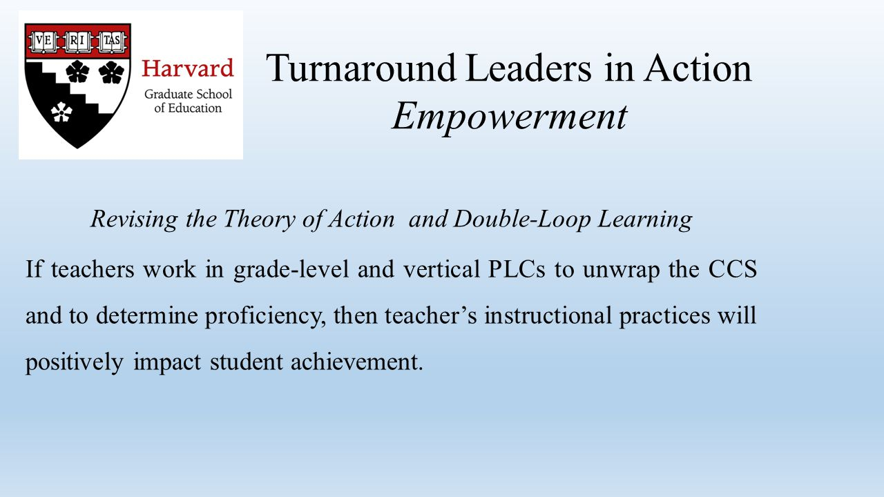 Turnaround Leaders in Action Empowerment Revising the Theory of Action and Double-Loop Learning If teachers work in grade-level and vertical PLCs to unwrap the CCS and to determine proficiency, then teacher's instructional practices will positively impact student achievement.