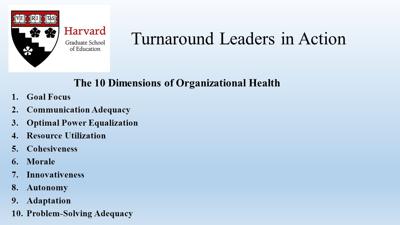 The 10 Dimensions of Organizational Health 1.Goal Focus 2.Communication Adequacy 3.Optimal Power Equalization 4.Resource Utilization 5.Cohesiveness 6.Morale 7.Innovativeness 8.Autonomy 9.Adaptation 10.Problem-Solving Adequacy Turnaround Leaders in Action