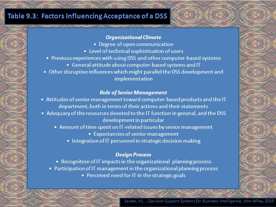 Sauter, V.L., Decision Support Systems for Business Intelligence, John Wiley, 2010 Table 9.3: Factors Influencing Acceptance of a DSS Organizational Climate Degree of open communication Level of technical sophistication of users Previous experiences with using DSS and other computer-based systems General attitude about computer-based systems and IT Other disruptive influences which might parallel the DSS development and implementation Role of Senior Management Attitudes of senior management toward computer-based products and the IT department, both in terms of their actions and their statements Adequacy of the resources devoted to the IT function in general, and the DSS development in particular Amount of time spent on IT-related issues by senior management Expectancies of senior management Integration of IT personnel in strategic decision making Design Process Recognition of IT impacts in the organizational planning process Participation of IT management in the organizational planning process Perceived need for IT in the strategic goals