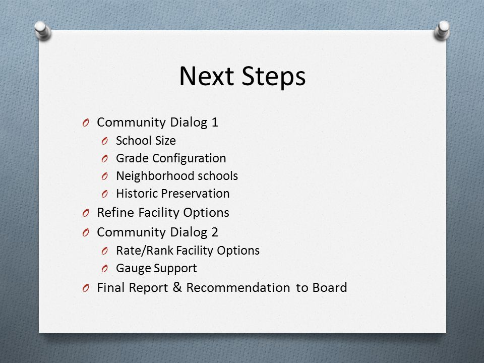 Next Steps O Community Dialog 1 O School Size O Grade Configuration O Neighborhood schools O Historic Preservation O Refine Facility Options O Community Dialog 2 O Rate/Rank Facility Options O Gauge Support O Final Report & Recommendation to Board