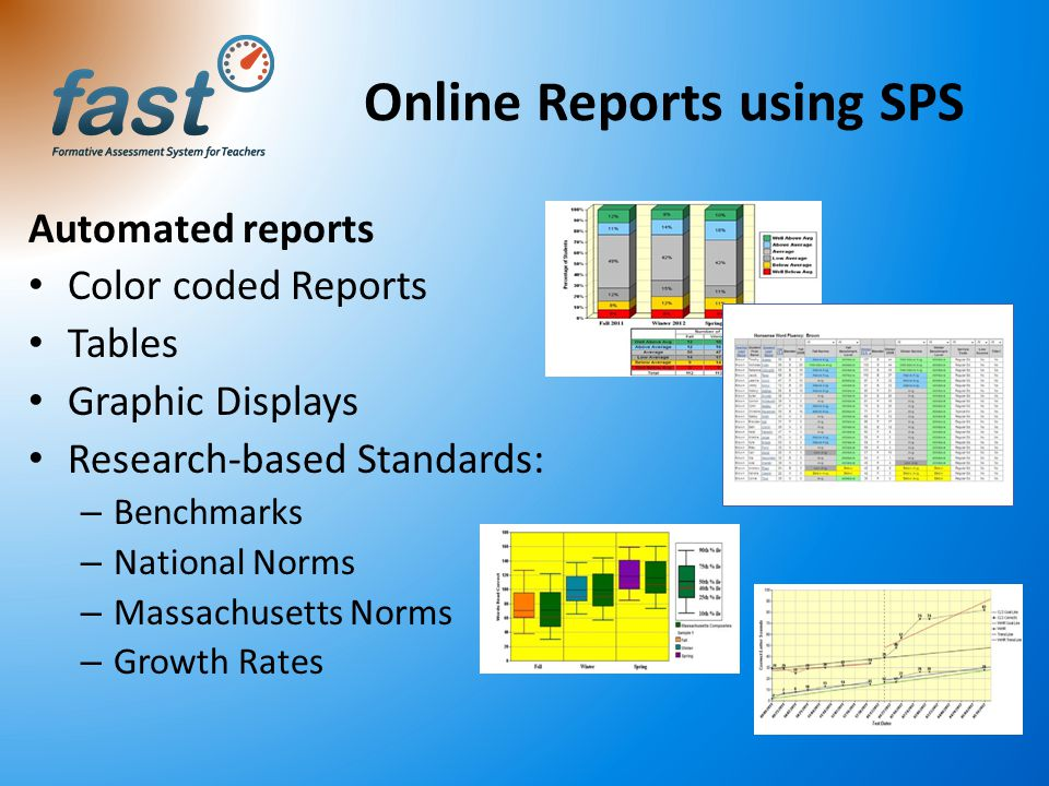 Online Reports using SPS Automated reports Color coded Reports Tables Graphic Displays Research-based Standards: – Benchmarks – National Norms – Massa