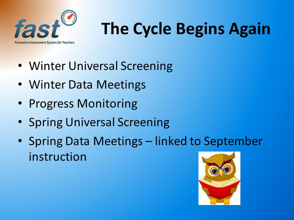 The Cycle Begins Again Winter Universal Screening Winter Data Meetings Progress Monitoring Spring Universal Screening Spring Data Meetings – linked to