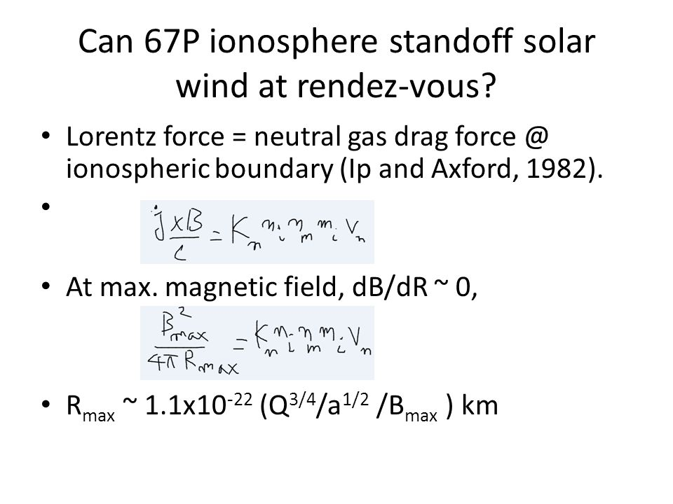 Can 67P ionosphere standoff solar wind at rendez-vous.
