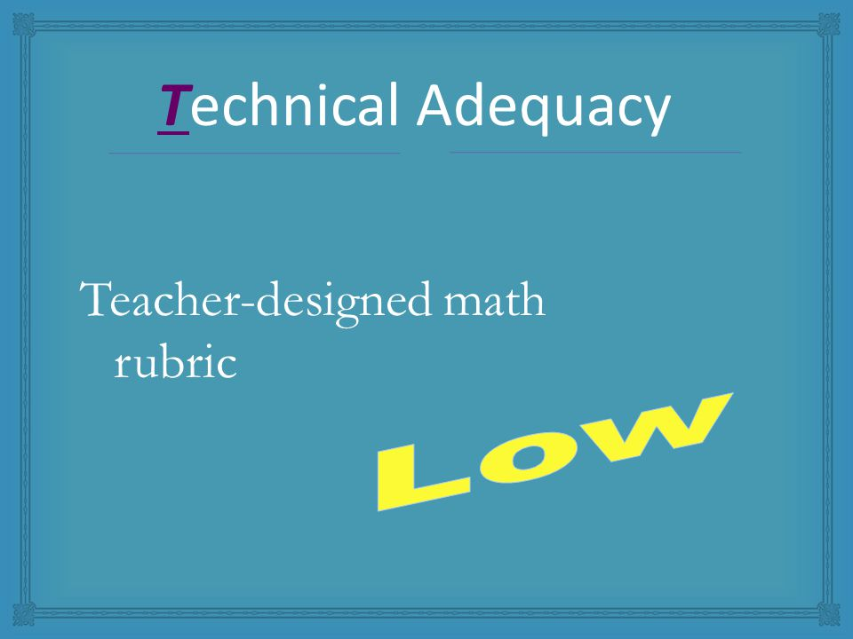 Teacher-designed math rubric Technical Adequacy