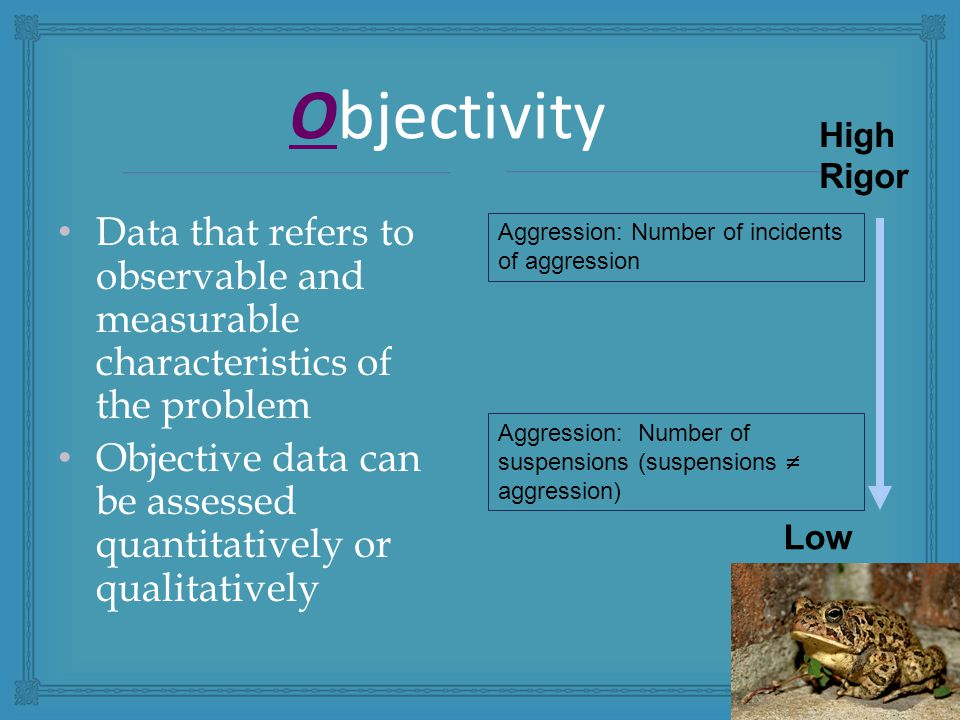 Objectivity Data that refers to observable and measurable characteristics of the problem Objective data can be assessed quantitatively or qualitatively High Rigor Low Rigor Aggression: Number of incidents of aggression Aggression: Number of suspensions (suspensions  aggression)