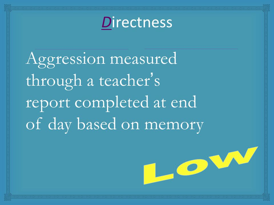 Aggression measured through a teacher's report completed at end of day based on memory Directness