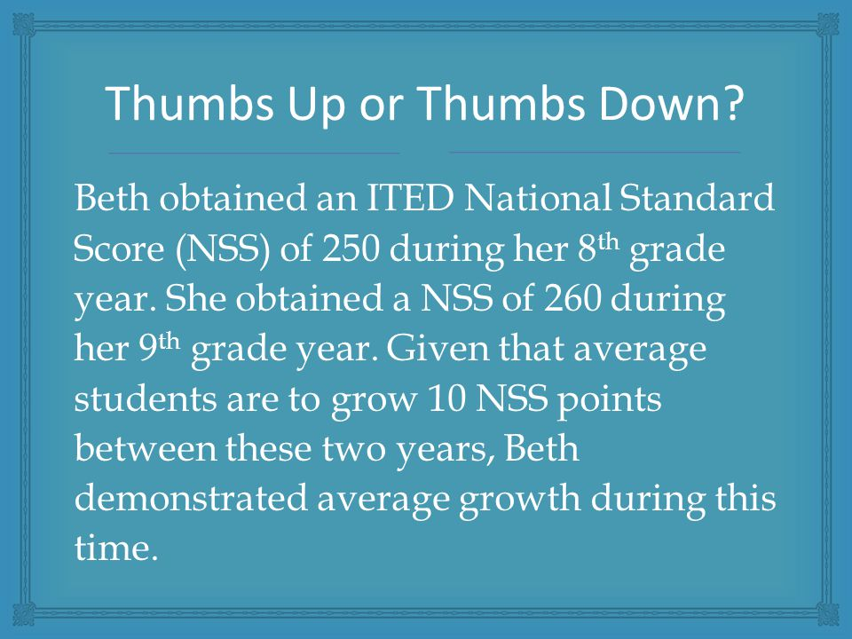 Beth obtained an ITED National Standard Score (NSS) of 250 during her 8 th grade year.
