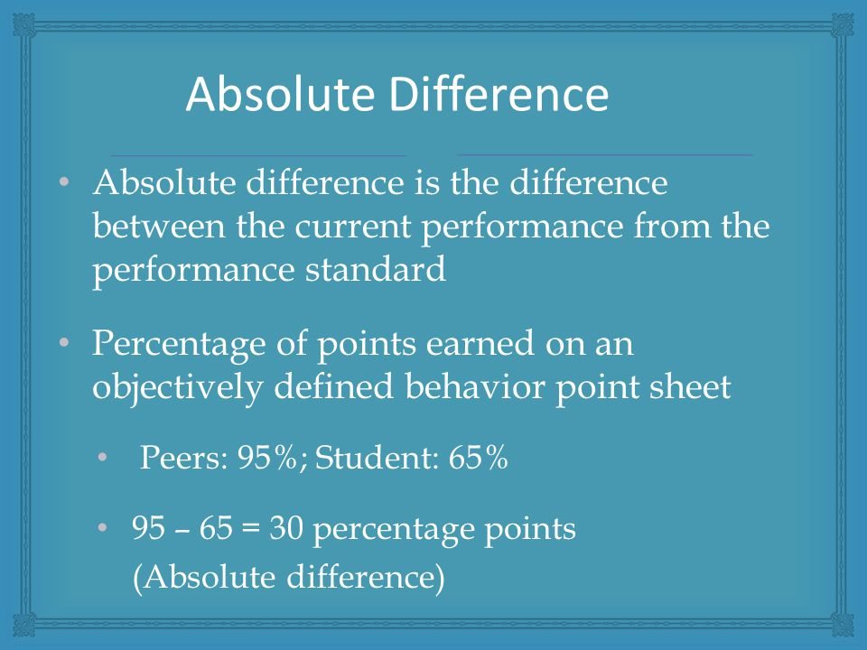 Absolute difference is the difference between the current performance from the performance standard Percentage of points earned on an objectively defined behavior point sheet Peers: 95%; Student: 65% 95 – 65 = 30 percentage points (Absolute difference) Absolute Difference