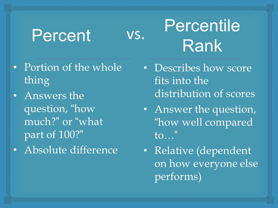 """vs. Portion of the whole thing Answers the question, """"how much?"""" or """"what part of 100?"""" Absolute difference Describes how score fits into the distribu"""
