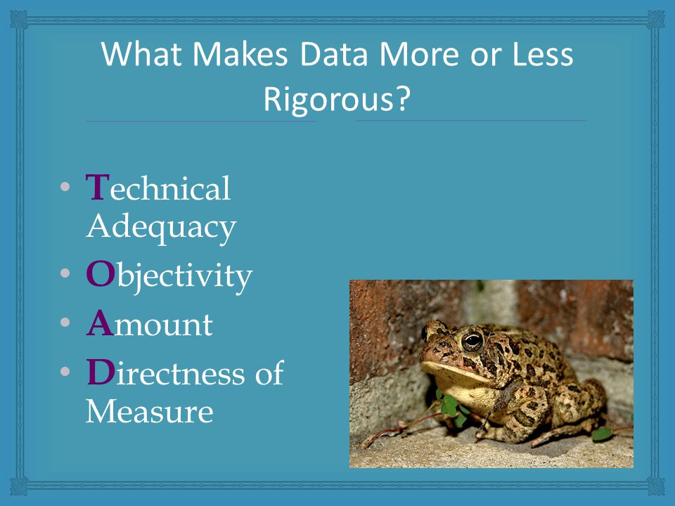 T echnical Adequacy O bjectivity A mount D irectness of Measure What Makes Data More or Less Rigorous?
