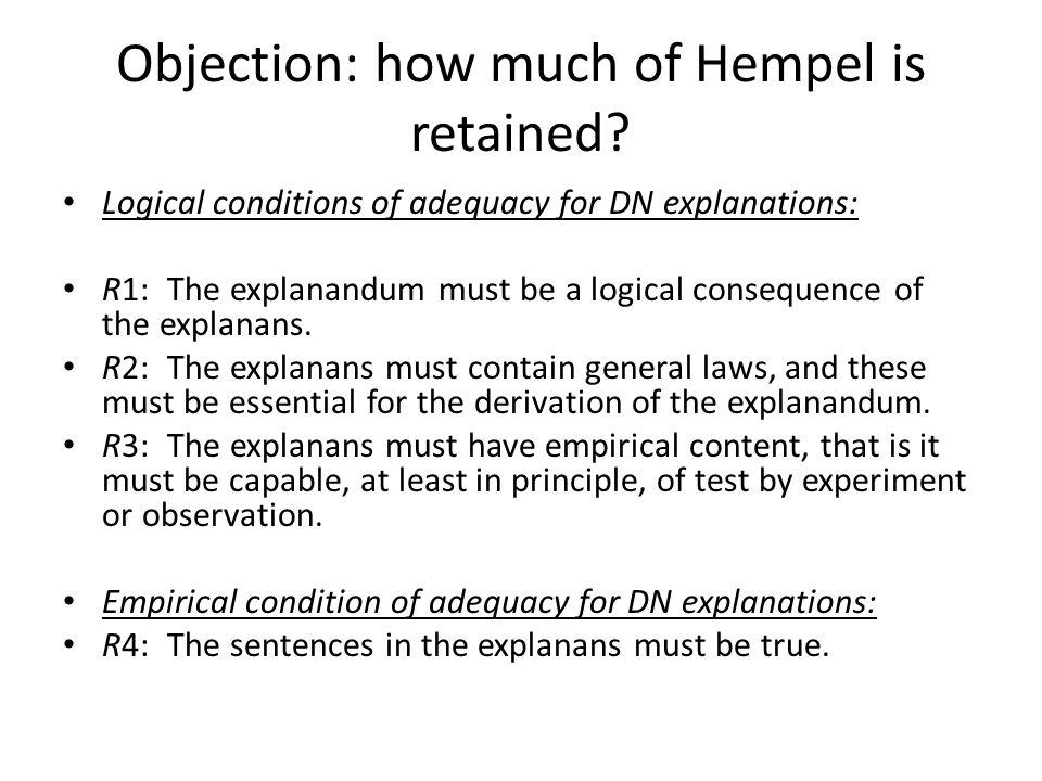 Objection: how much of Hempel is retained.