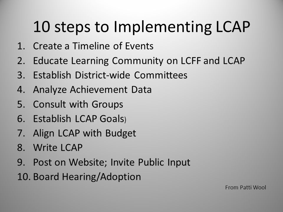 10 steps to Implementing LCAP 1.Create a Timeline of Events 2.Educate Learning Community on LCFF and LCAP 3.Establish District-wide Committees 4.Analyze Achievement Data 5.Consult with Groups 6.Establish LCAP Goals ) 7.Align LCAP with Budget 8.Write LCAP 9.Post on Website; Invite Public Input 10.Board Hearing/Adoption From Patti Wool