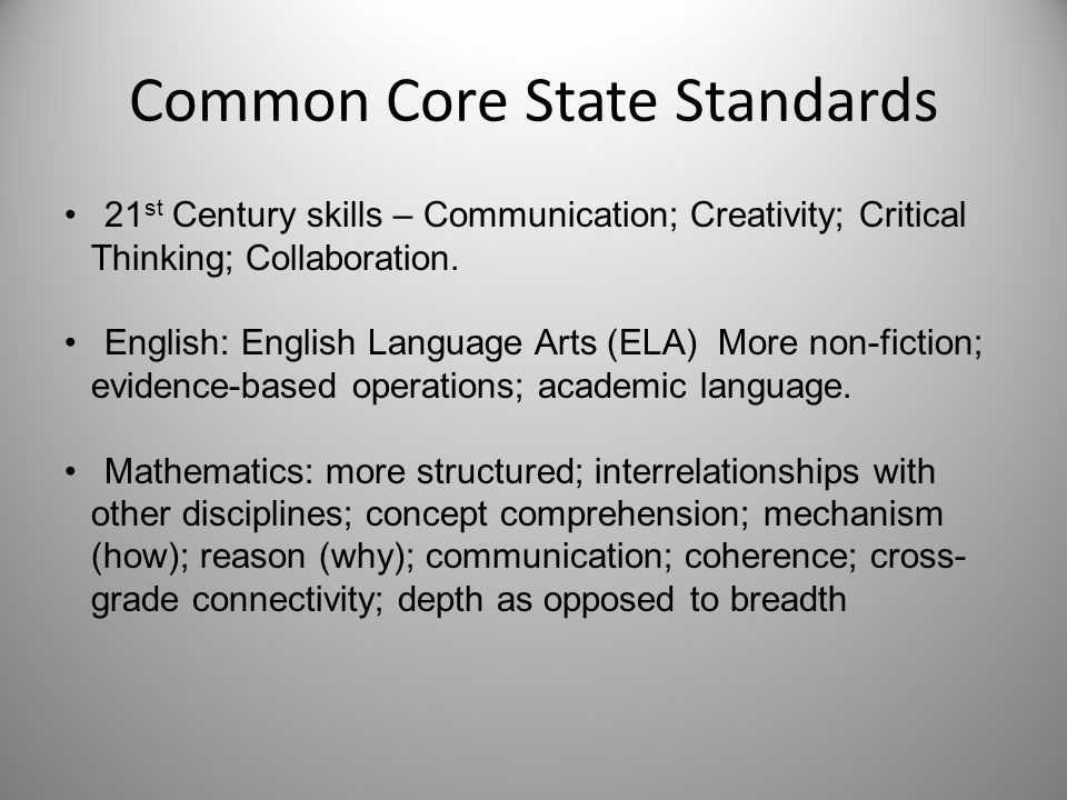 Common Core State Standards 21 st Century skills – Communication; Creativity; Critical Thinking; Collaboration. English: English Language Arts (ELA) M
