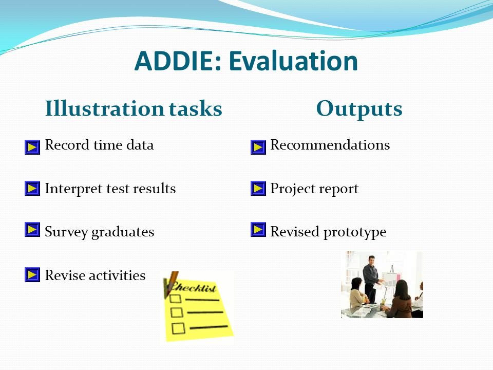 ADDIE: Evaluation Illustration tasks Outputs Record time data Interpret test results Survey graduates Revise activities Recommendations Project report Revised prototype