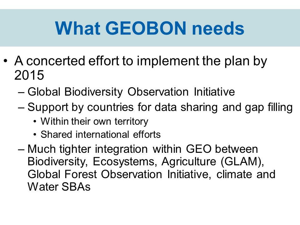 What GEOBON needs A concerted effort to implement the plan by 2015 –Global Biodiversity Observation Initiative –Support by countries for data sharing and gap filling Within their own territory Shared international efforts –Much tighter integration within GEO between Biodiversity, Ecosystems, Agriculture (GLAM), Global Forest Observation Initiative, climate and Water SBAs