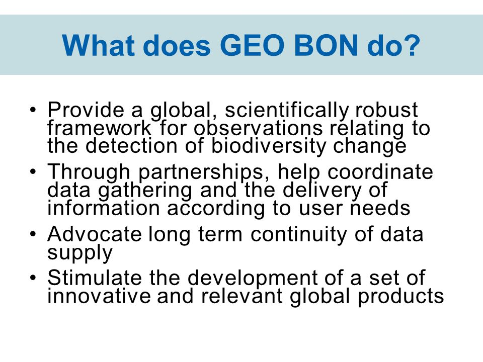 What does GEO BON do? Provide a global, scientifically robust framework for observations relating to the detection of biodiversity change Through part