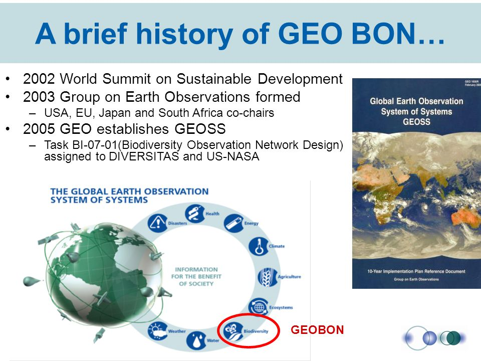 A brief history of GEO BON… 2002 World Summit on Sustainable Development 2003 Group on Earth Observations formed –USA, EU, Japan and South Africa co-c