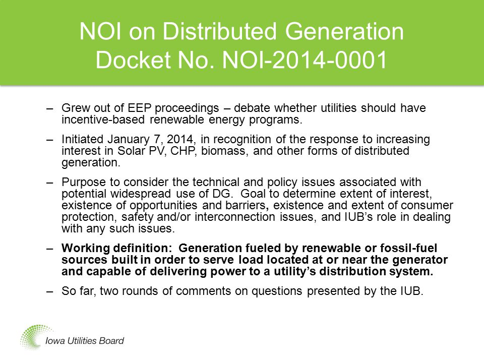 NOI on Distributed Generation Docket No.