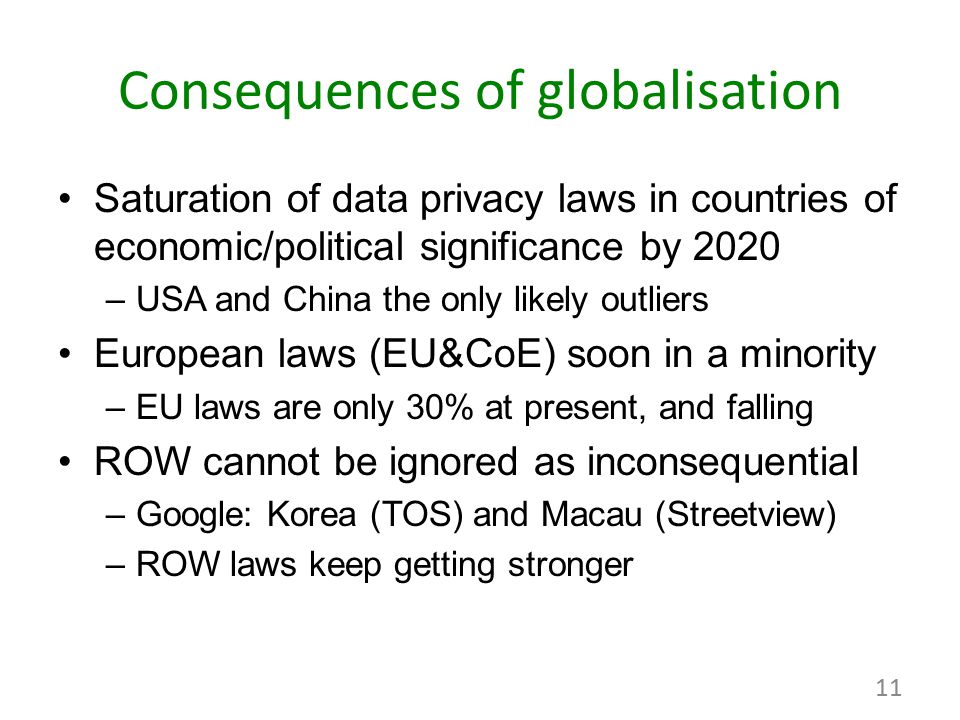 Consequences of globalisation Saturation of data privacy laws in countries of economic/political significance by 2020 –USA and China the only likely o