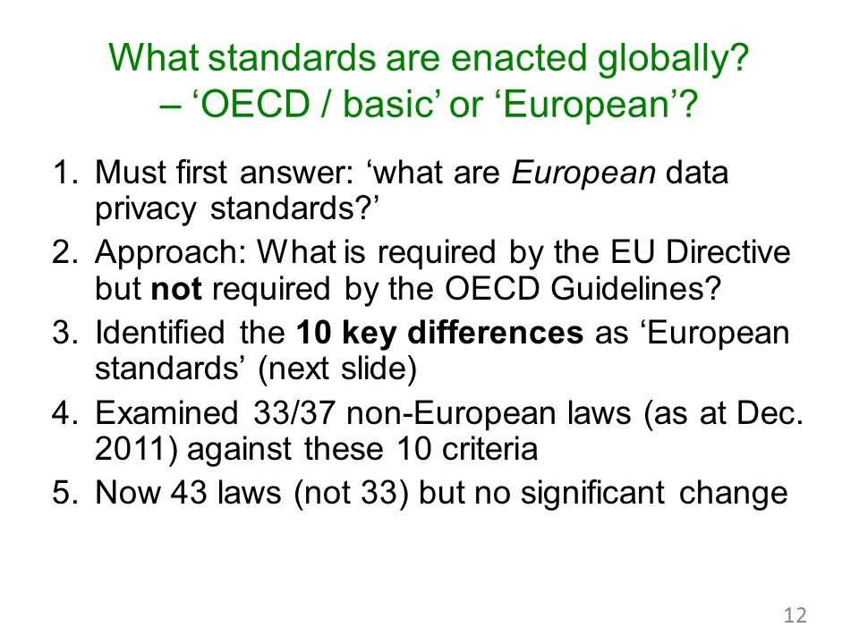 What standards are enacted globally? – 'OECD / basic' or 'European'? 1.Must first answer: 'what are European data privacy standards?' 2.Approach: What