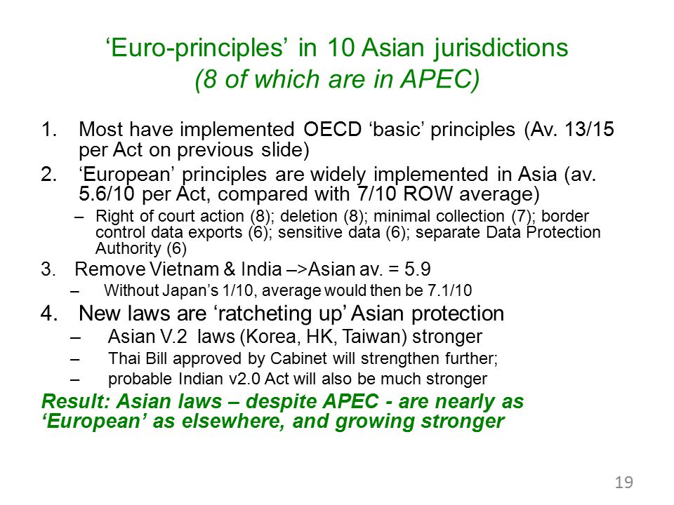 'Euro-principles' in 10 Asian jurisdictions (8 of which are in APEC) 1.Most have implemented OECD 'basic' principles (Av. 13/15 per Act on previous sl