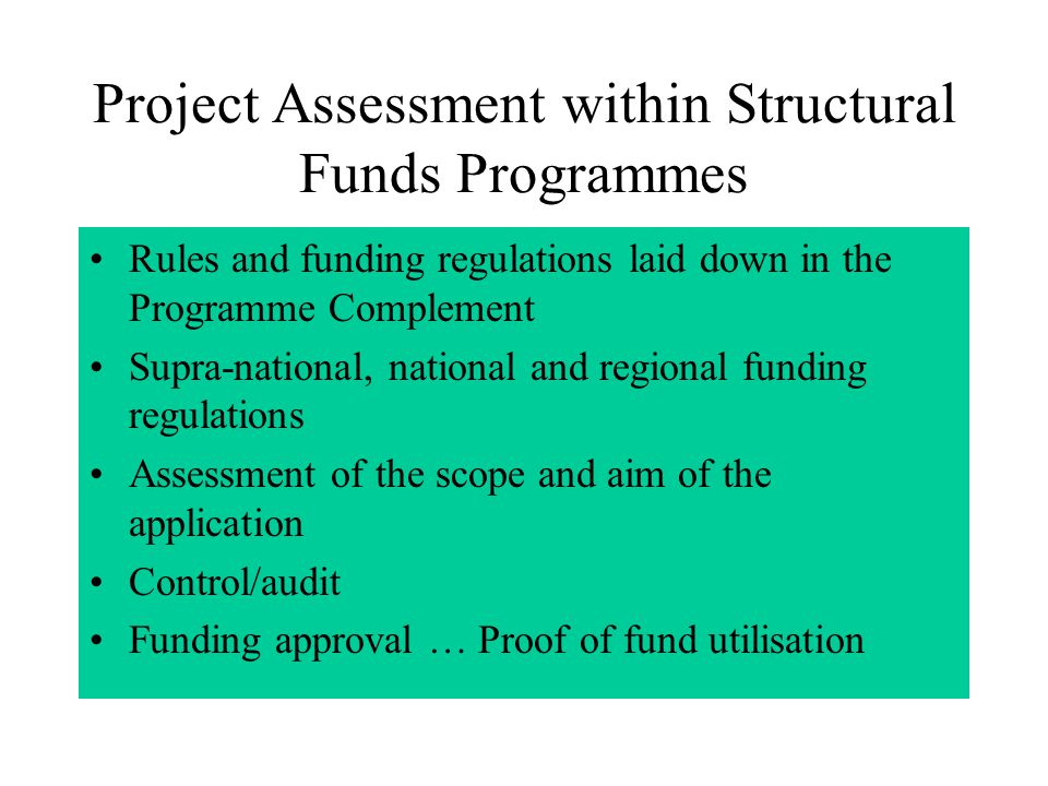 Project assessments