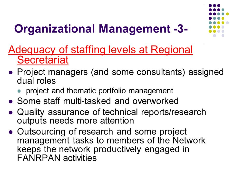 Organizational Management -3- Adequacy of staffing levels at Regional Secretariat Project managers (and some consultants) assigned dual roles project and thematic portfolio management Some staff multi-tasked and overworked Quality assurance of technical reports/research outputs needs more attention Outsourcing of research and some project management tasks to members of the Network keeps the network productively engaged in FANRPAN activities