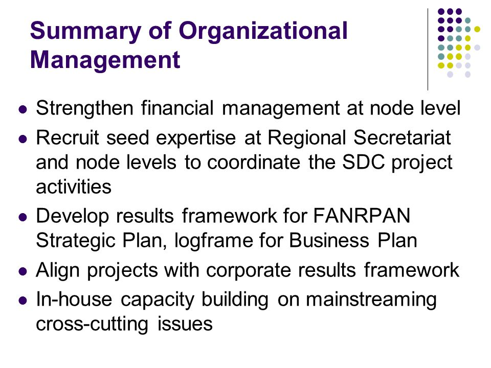 Summary of Organizational Management Strengthen financial management at node level Recruit seed expertise at Regional Secretariat and node levels to coordinate the SDC project activities Develop results framework for FANRPAN Strategic Plan, logframe for Business Plan Align projects with corporate results framework In-house capacity building on mainstreaming cross-cutting issues
