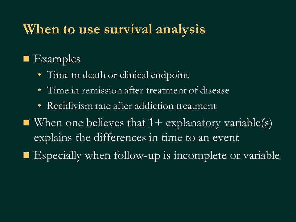 Relationship between survivor function and hazard function Survivor function, S(t) defines the probability of surviving longer than time t this is what the Kaplan-Meier curves show.