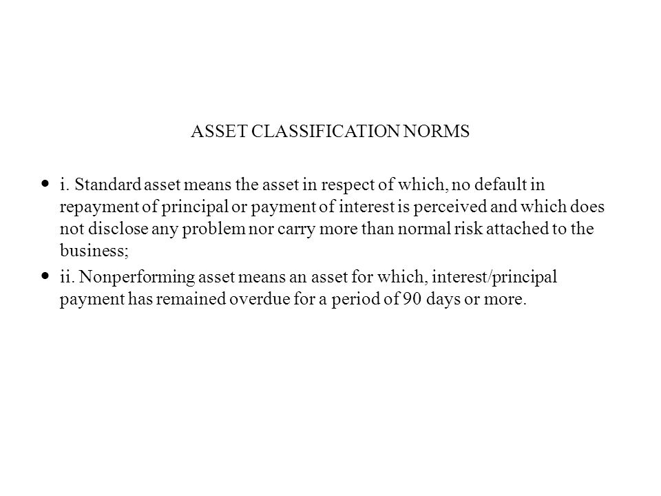 ASSET CLASSIFICATION NORMS i.