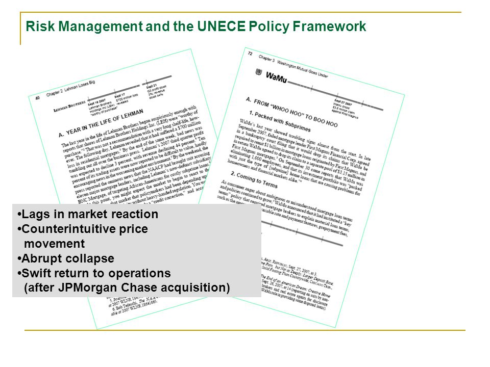 Lags in market reaction Counterintuitive price movement Abrupt collapse Risk Management and the UNECE Policy Framework