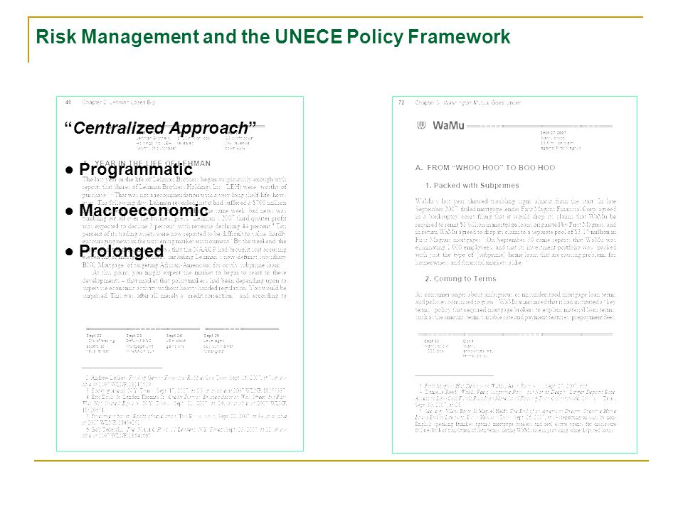 Centralized Approach ● Programmatic ● Macroeconomic Risk Management and the UNECE Policy Framework