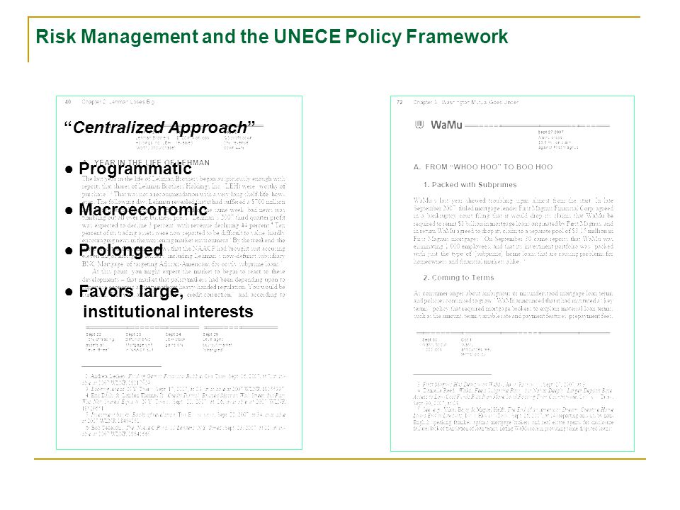 Centralized Approach ● Programmatic ● Macroeconomic ● Prolonged Risk Management and the UNECE Policy Framework