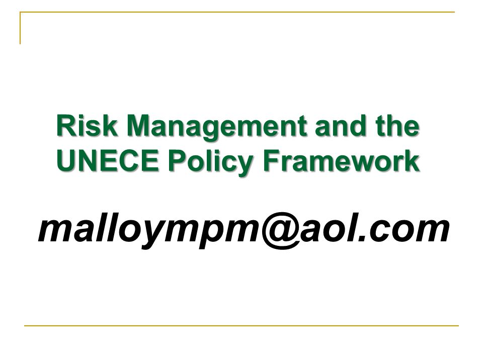 Risk Management and the UNECE Policy Framework. THANK YOU!.