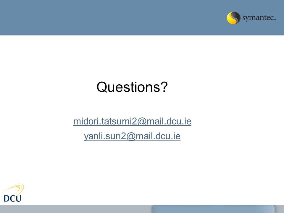 Questions midori.tatsumi2@mail.dcu.ie yanli.sun2@mail.dcu.ie