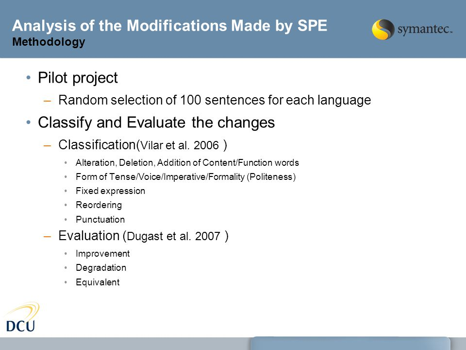 Analysis of the Modifications Made by SPE Methodology Pilot project –Random selection of 100 sentences for each language Classify and Evaluate the changes –Classification( Vilar et al.