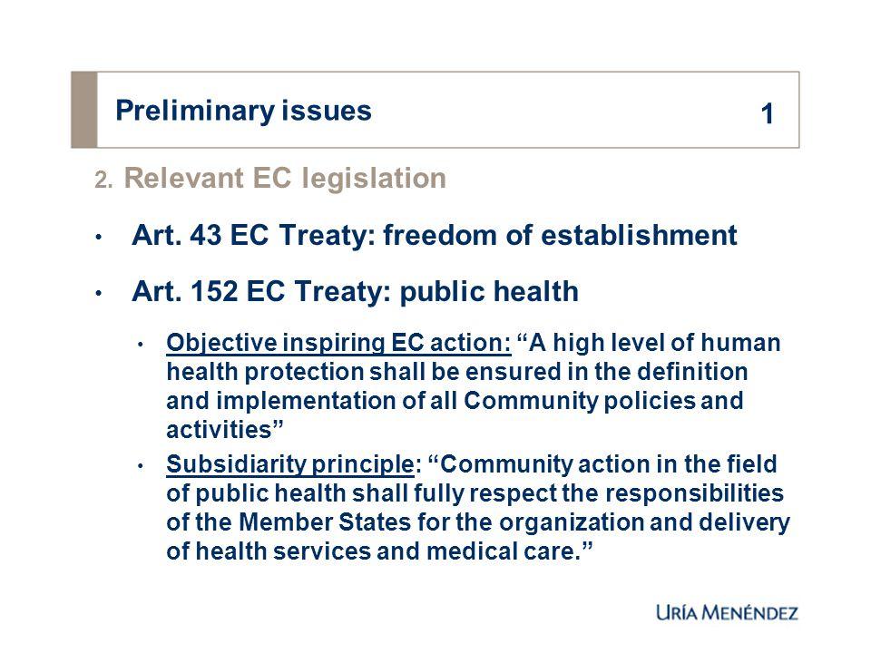 Preliminary issues 2. Relevant EC legislation Art.