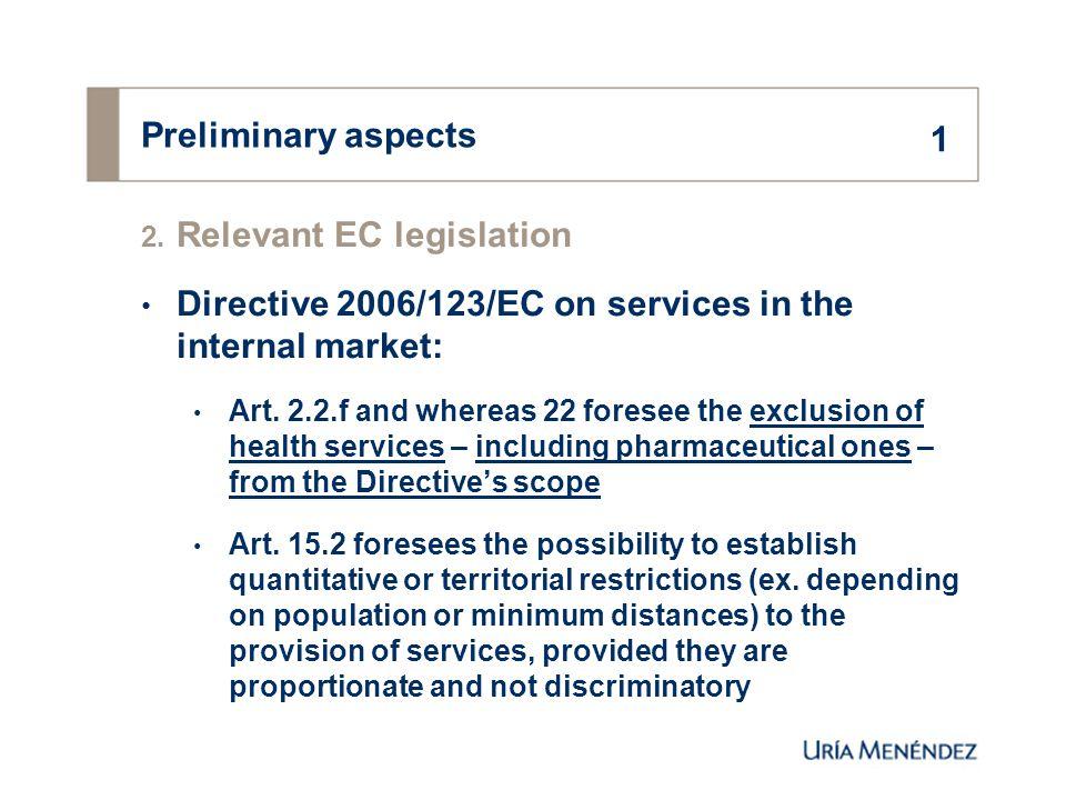 Reasoned opinion on the Spanish pharmacy legislation 1.